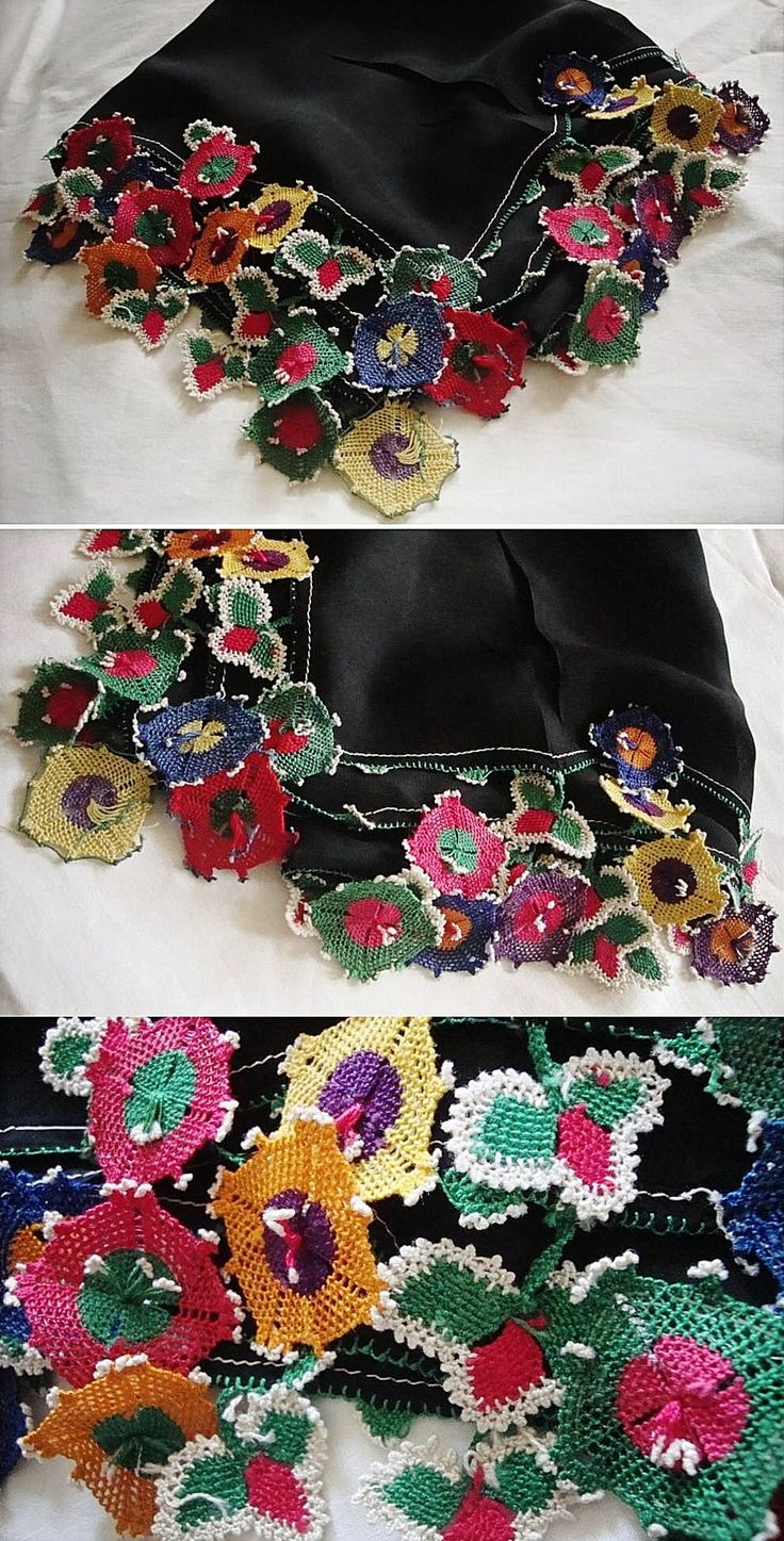 Traditional silk 'oyalı yazma' (headscarf edged with Turkish lace) from Kozak Yaylası, near Bergama.  Ca. mid-20th century.  (Source: Tekin Uludoğan, Balıkesir).