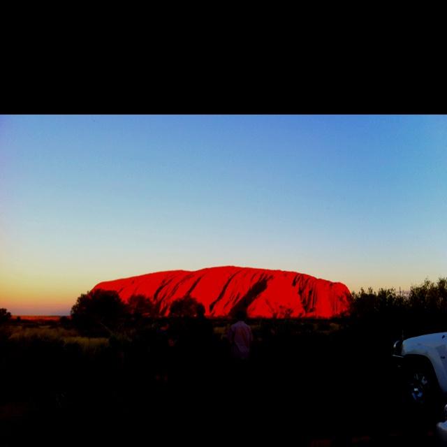 Sun set on ayres rock