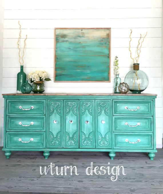 Sold!! Vintage Aqua painted dresser/ buffet/ sideboard/ tv console with a coastal style