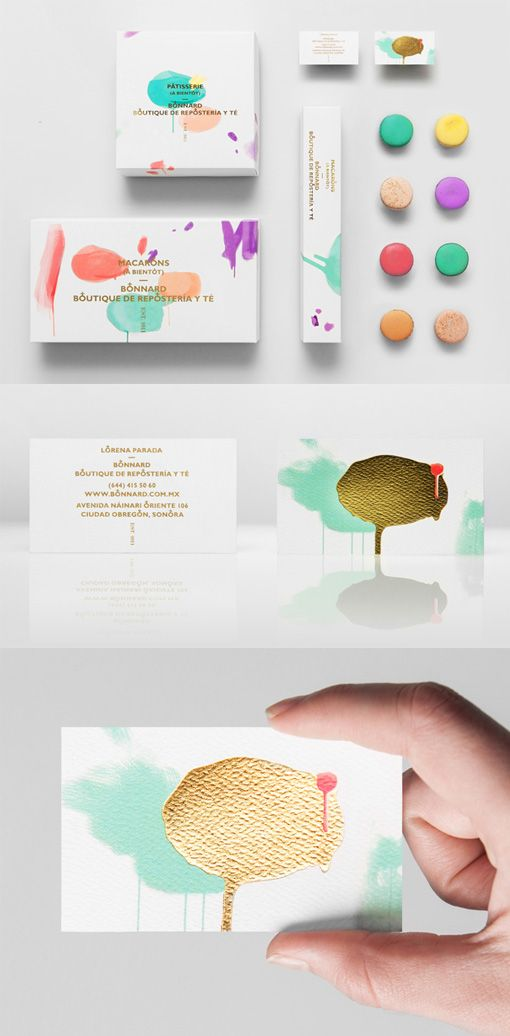 Artistic Design On A Gold Foil Business Card For A Bakery