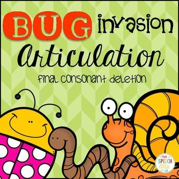 "Bugs, Bugs, Everywhere! Help me catch them if you dare! Check out this freebie for final consonant deletion as a preview of my early developing articulation activities for spring.Included:30 final consonant deletion bugs4 special ""splat"" bugs2 bug collectorsPlace Velcro on each bug and on a fly swatter."
