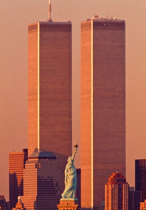 World Trade Center Twin Towers on September 11, 2001 before being hit.