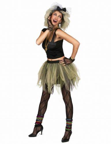 Disfraz de disco rock tutú años 80 para mujer-1