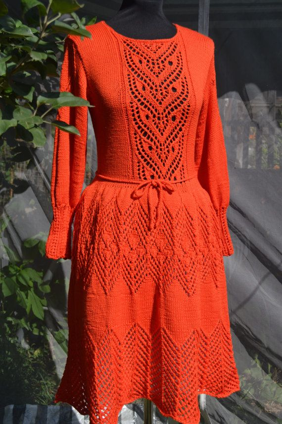 Dress Red chrysanthemum.  Dress knitted from