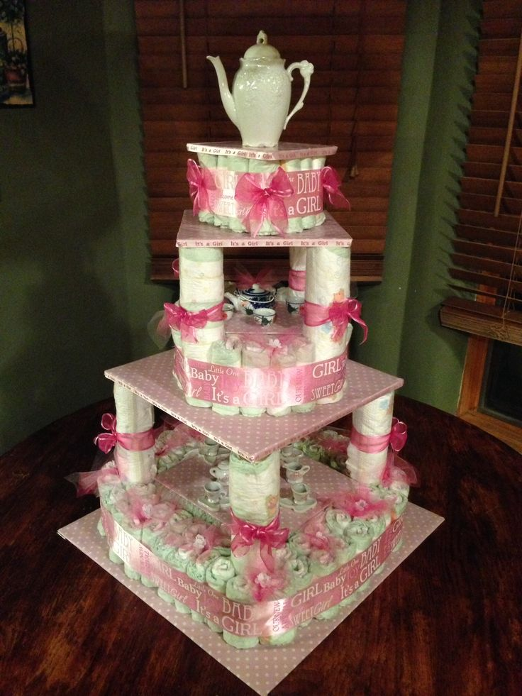 Tea party diaper cake! So simple to make.