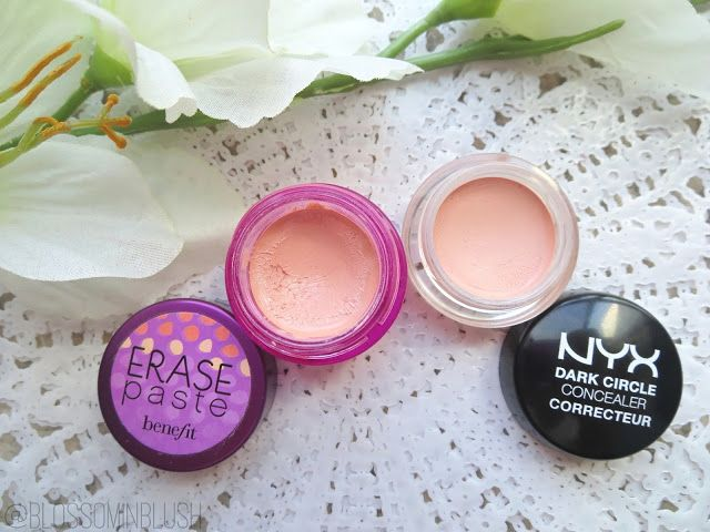 Blossom in Blush - Benefit Erase Paste vs. NYX Dark Circle Concealer #dupe #ChampagneOrBeer #SplurgeOrSave