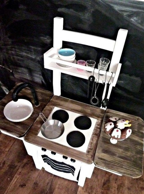 a chair converted to kids kitchen?! simple and awesome!! ...instead of the cloth cover for a chair what about just converting an old chair ?