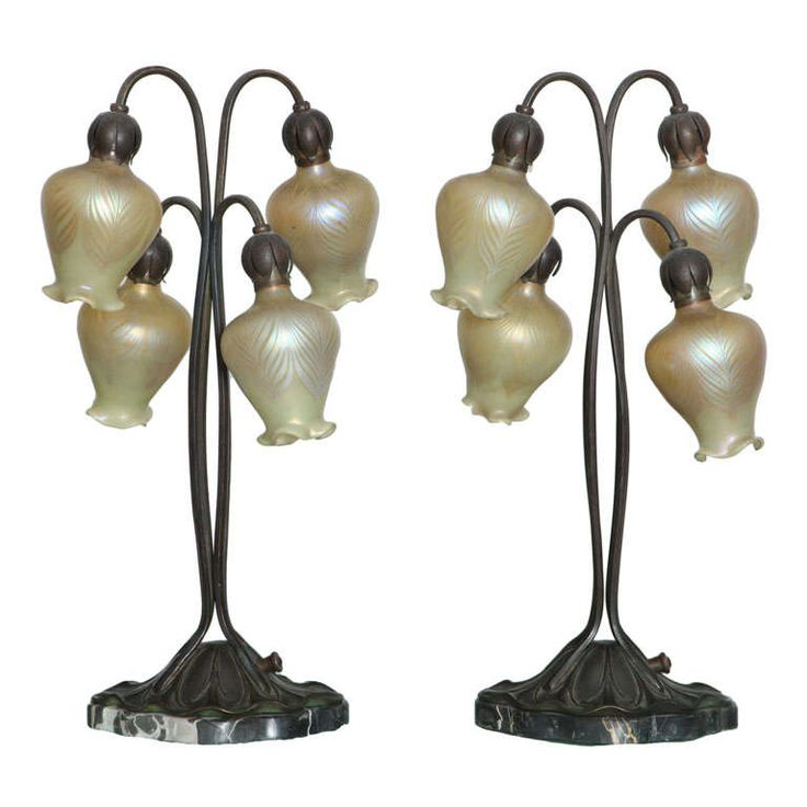 Art Nouveau Lily Lamps by, Loetz | From a unique collection of antique and modern table lamps at https://www.1stdibs.com/furniture/lighting/table-lamps/