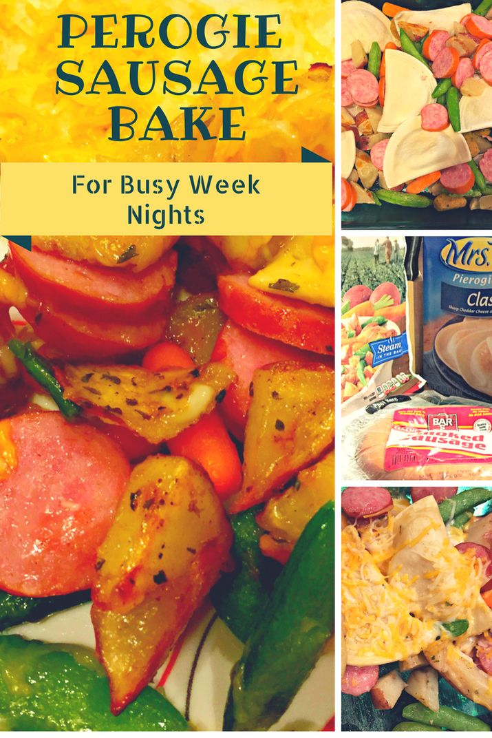 Casserole Dish with Perogies, Sausage, Harvest Vegetables and Cheese. Weeknight meal solutions.