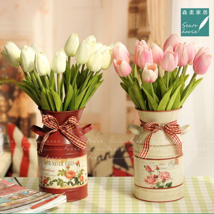 Pas cher american retro finition fer vase d coration de la maison rustique fl - Decoration de fleurs ...