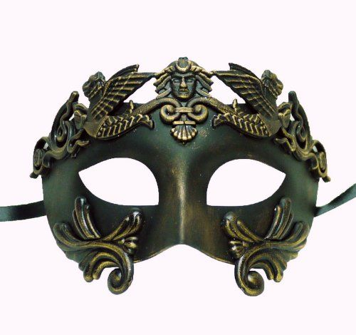 Amazon.com: Roman Style Venetian Hand Painted Mask in Bronze: Clothing