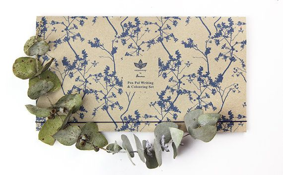 Pen Pal Writing Colouring Set 'Nero Blue' Recycled by naturewrap