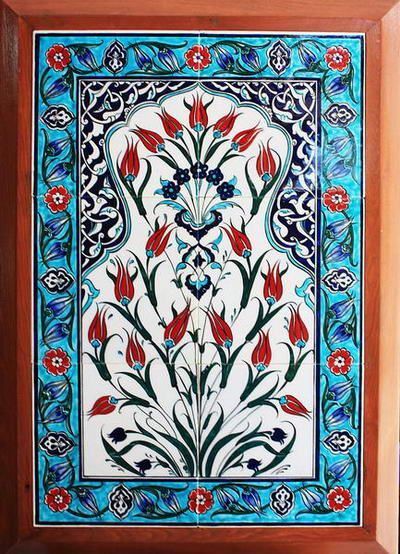 Ýznik Çini Pano desenleri-40x60 lale el dekor çini pano