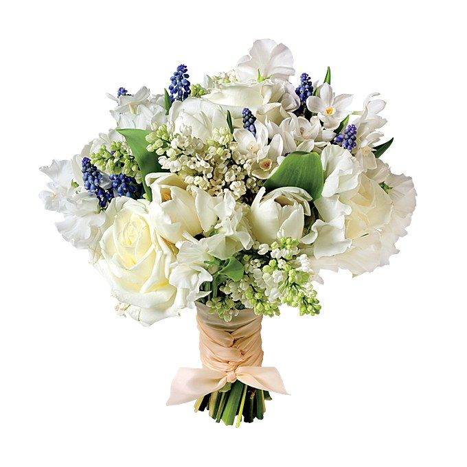Elegant and with a nautical undertone, this bouquet is ideal for a summer wedding in a lush garden. Lilac, muscari, hydrangra, tulip, rose, sweet pea and narcissus wedding bouquet, $250, Zezé Flowers See more lilac wedding flowers.