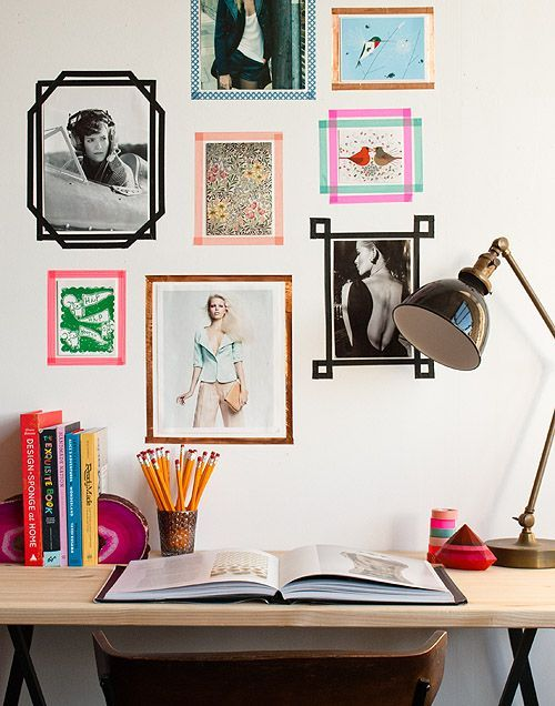 Expensive custom frames begone! These DIY tape frames are cute and cut costs.