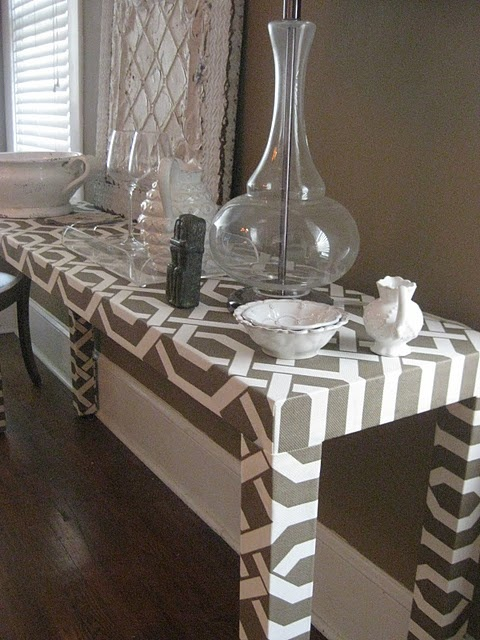 geometric fabric = much livelier than marble laminate!
