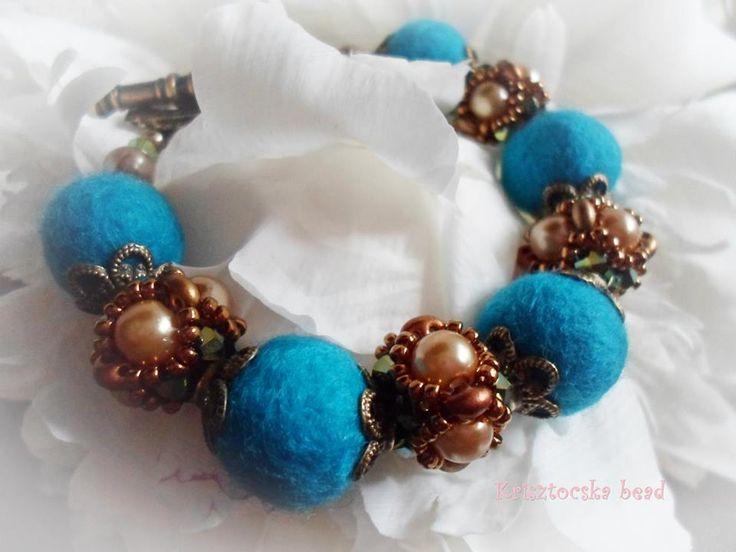 Felt and bead bracelet.