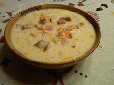 cheap easy ham potato soup I usually start this soup by using a left over ham bone and cover it with water let it cook till the meat is falling off the bone (I rarely add extra ham)