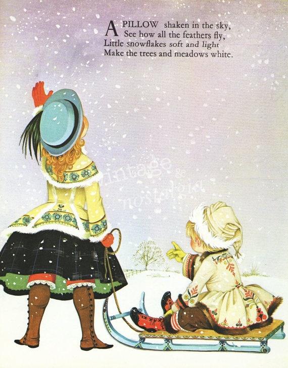 Winter decor Nursery rhyme vintage print by VintageAndNostalgia, $9.95