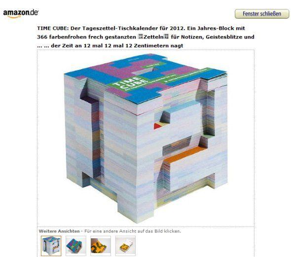 Time Cube – Der Tageszettel-Tischkalender: 2012 Calendar, Calendar Unfortunatelly, Cubes, Desk Calendars, Schmidt Time