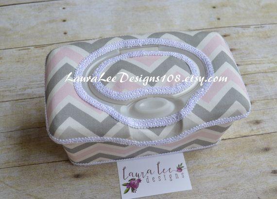Pink and Gray Chevron Flip Top Nursery Wipe Case Diaper Wipe
