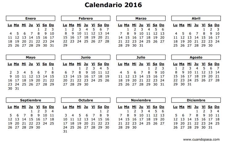 Descarga gratis 16 calendarios 2016 para imprimir y completar las fechas importantes - Nocturnar