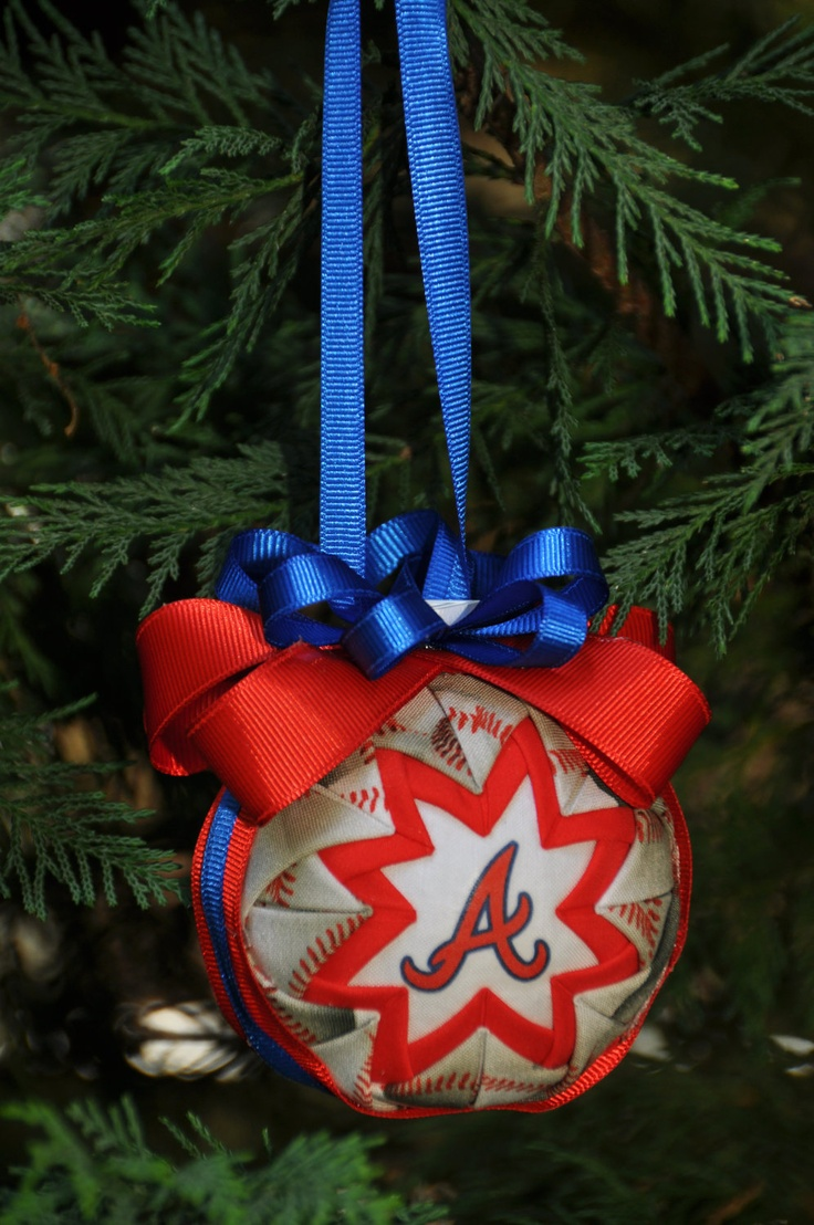 Handmade christmas ornaments on etsy - Atlanta Braves Quilted Christmas Ornament Baseball Handmade Gift 15 00 Via Etsy Makeitallyours