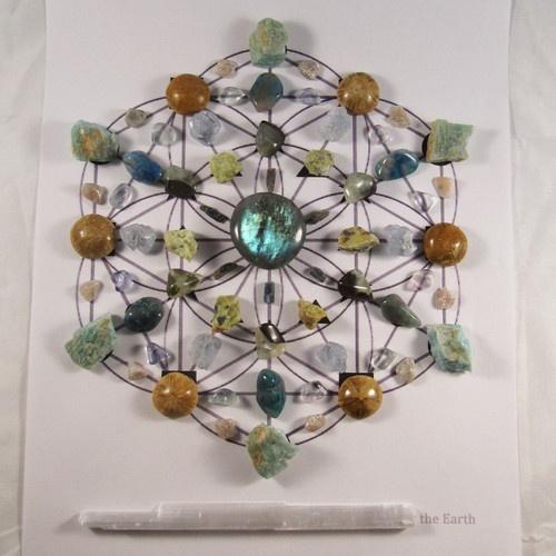 The Work Support Crystalline Stone Grid. Labradorite, kyanite, prehnite, green opal, celestite, Quantum Quattro Silica, fluorite, Amazonite, Sand Dollar, and White Aventurine.