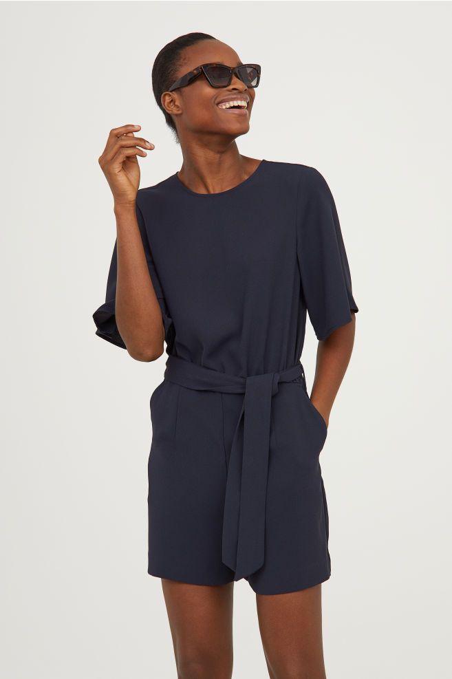 Combi short avec ceinture | Combishort, Idées de mode