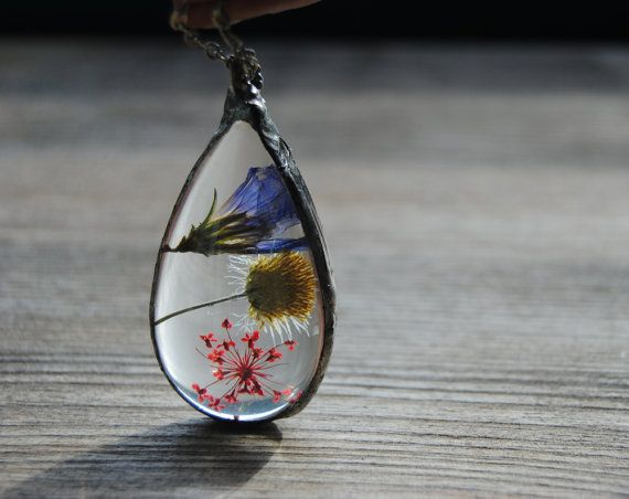 Terrarium necklace pressed flower necklace by IskraCreations