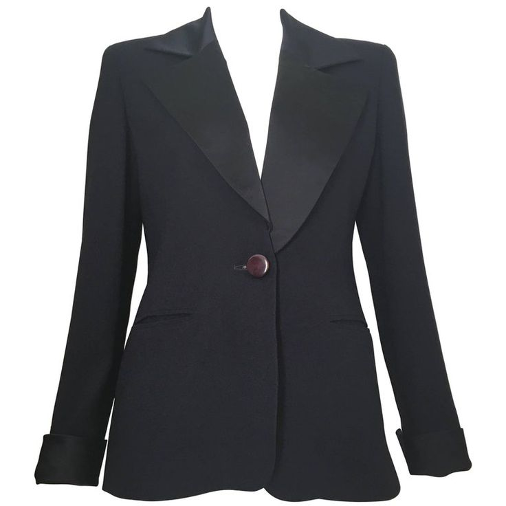 Dior Navy Tuxedo Jacket Size 4. | From a collection of rare vintage jackets at https://www.1stdibs.com/fashion/clothing/jackets/ @1stdibs @Dior #tuxedo #jacket #fashion #shopping #forsale #style