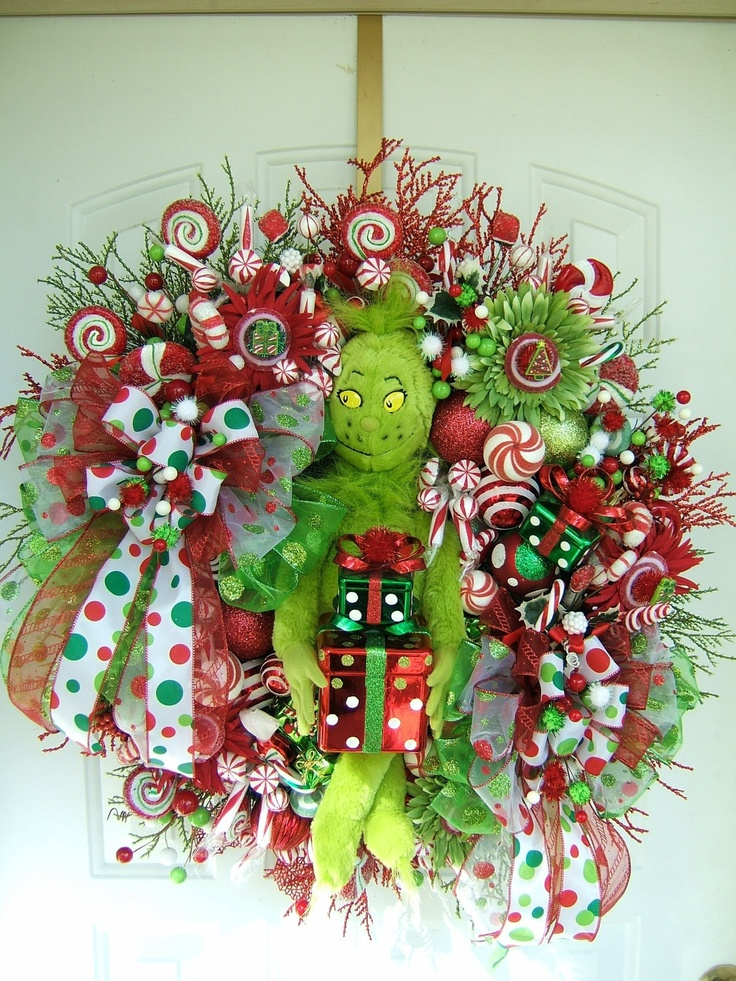 custom order your very own many different styles christmas wreath gingerbread candy grinch. Black Bedroom Furniture Sets. Home Design Ideas