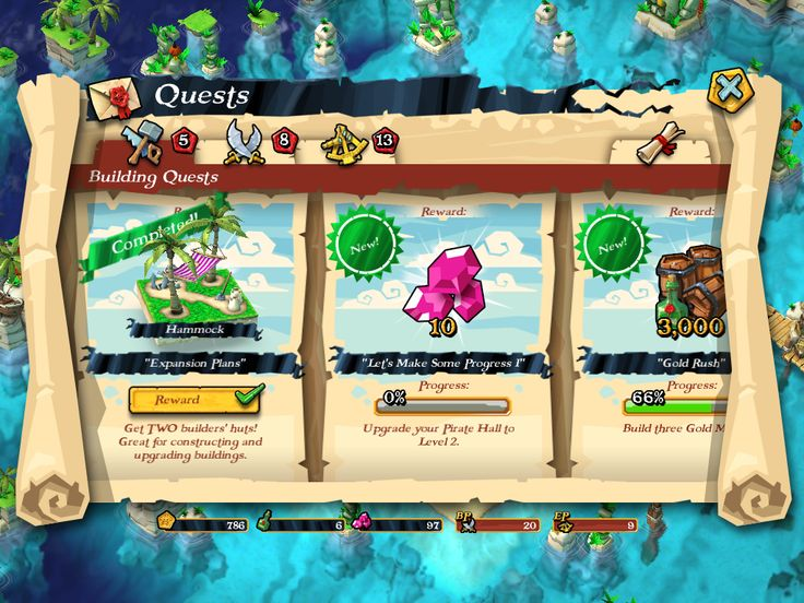 Plunder Pirates by Midoki - Quests - Game UI HUD Interface Art iOS Apps