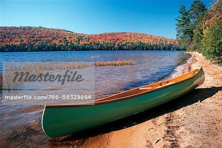 Canoe on Beach Rock Lake Algonquin Provincial Park Ontario, Canada ...