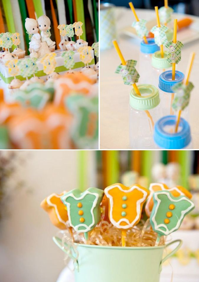 Precious Moments themed baby shower full of cute ideas! Love the bottles used as drinking glasses! Via www.KarasPartyIDeas.com