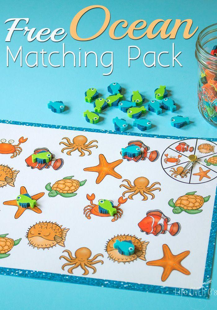 Free Ocean Matching Printable Pack Ocean Theme Preschool Ocean Activities Preschool Activities Free ocean activities for preschoolers