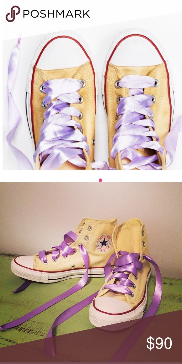 Cream Converse w/ Lavender Ribbon Laces Butter cream and violet go lovely together! Free People Shoes Sneakers