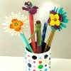 Update plain pens with this fun green craft project. All the products used to create these paper pens are eco-friendly. The surfaces are covered with a paper grocery bag. The paints contain no or low VOCs (volatile organic compounds).