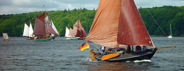 A nice Schokker flying the german flag. Schokkers are Dutch fishing boats with a flat bottom, origianally built in wood. This example is built in steel.