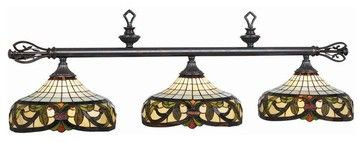 Billiard Light w End Finials On Rod & Three Glass Shades midcentury-pool-table-lights