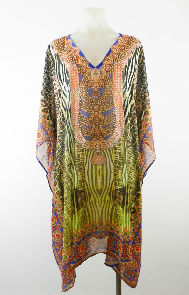 Ladies Caftan Kaftan Embellished Jewelled Cocktail Dress  8 10 12 14 16 18