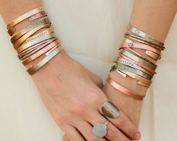 DIY / Customize ONE Slim + ONE Skinny / Cuff Bracelets / Gift for Her / Personalized Jewelry / Birthday Gift / Graduation / Inspirational