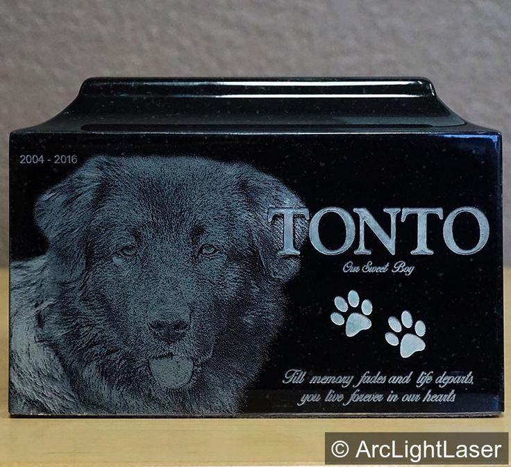 Large Granite Pet Cremation Urn Laser Engraved Photo