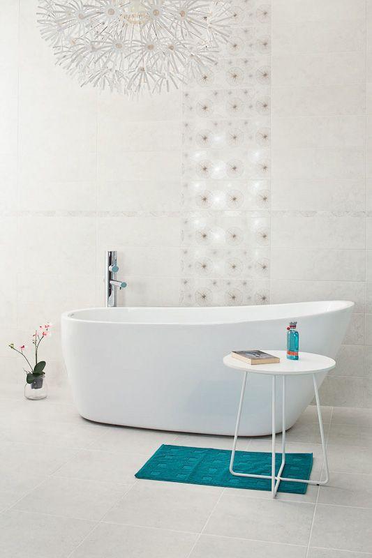 Nirrad / Niro - белые и серые керамические плитки для ванной комнаты в формате 20x60 см - Paradyż