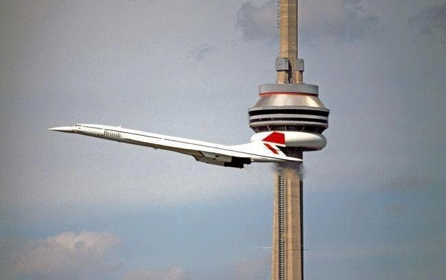 British Airways Concorde departing Toronto 1970's Looks like a scene from Thunderbirds!
