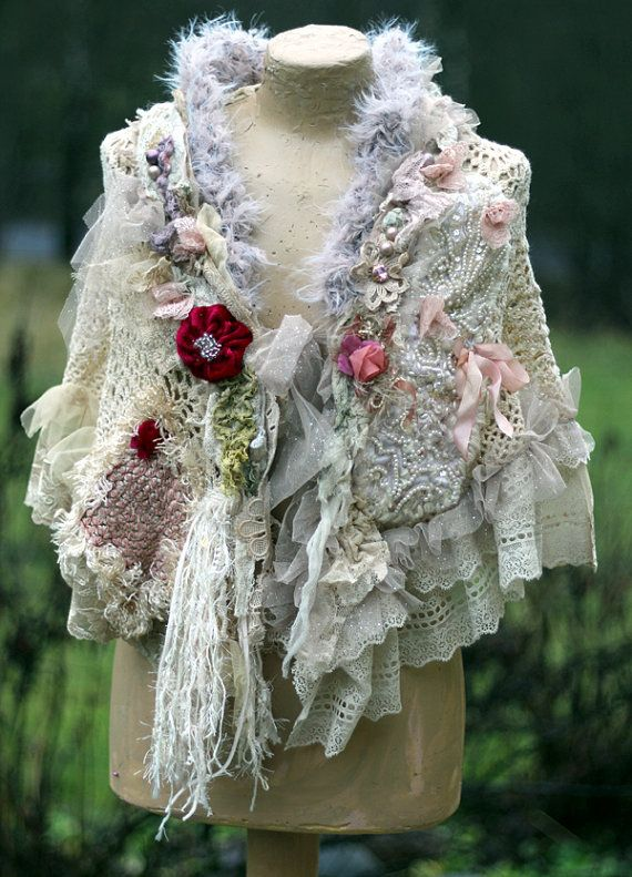 Summer memoirs bohemian shabby chic shrug or cape by FleursBoheme