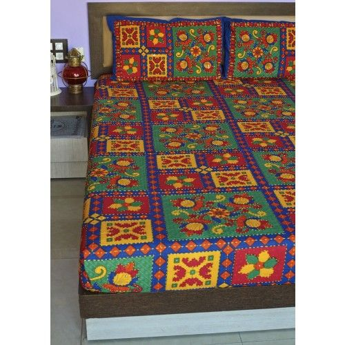 "Gleamberry | Multicoloured Kutchi Applique Print Handloom Double Bedsheet with 2-Pillow Covers (91""X105"")"