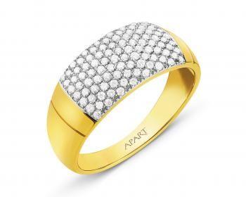 Pierścionek z żółtego złota z brylantami -przyciąga oko :)