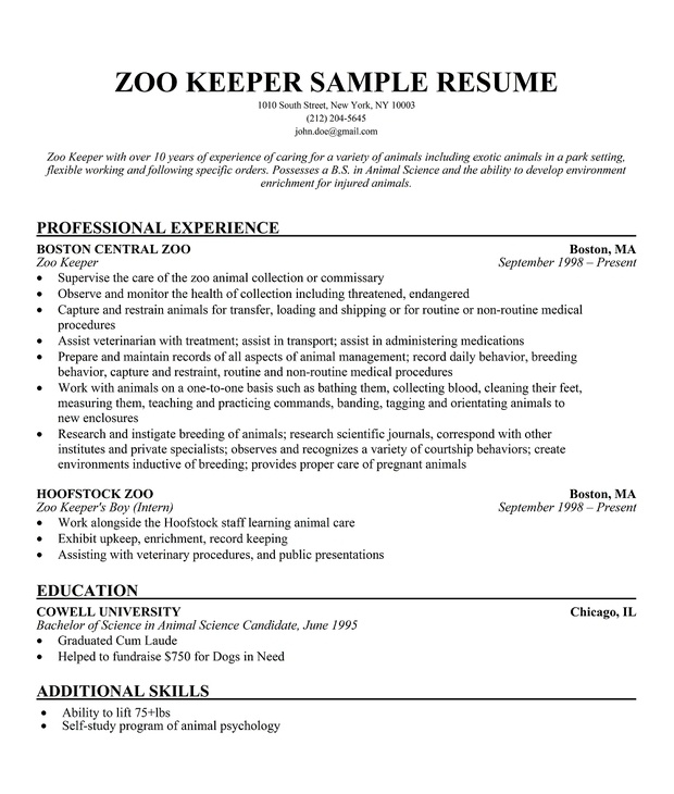 zoo keeper sample resume