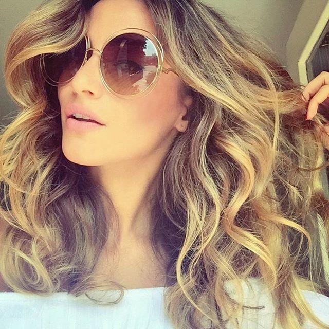 f09a09856a96 XXL Oversized Big Round Carl Gradient Women Sunglasses Double Wire  Coachella